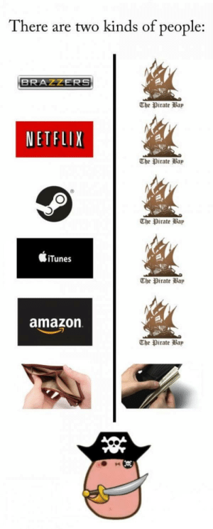 Amazon, Netflix, and iTunes: There are two kinds of people:  BRAZZERS  The rate lap  NETFLIX  The Pirate ap  The rate Bap  iTunes  Dirate  amazon  The rate liap