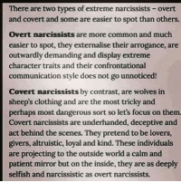 overt: There are two types of extreme narcissists-overt  and covert and some are easier to spot than others.  Overt narcissists are more common and much  easier to spot, they externalise their arrogance, are  outwardly demanding and display extreme  character traits and their confrontational  communication style does not go unnoticed!  Covert narcissists by contrast, are wolves in  sheeps clothing and are the most tricky and  perhaps most dangerous sort so let's focus on them.  Covert narcissists are underhanded, deceptive and  act behind the scenes. They pretend to be lovers,  givers, altruistic, loyal and kind. These individuals  are projecting to the outside world a calm and  patient mirror but on the inside, they are as deeply  selfish and narcissistic as overt narcissists.