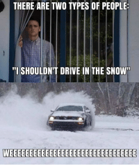 "THERE ARE TWO TYPES OF PEOPLE  ""I SHOULDN'T DRIVE IN THE SNOW Which are you? :-)"