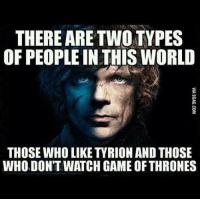 games of throne: THERE ARE TWO TYPES  OF PEOPLE IN THIS WORLD  THOSE WHO LIKE TYRION AND THOSE  WHODONTWATCH GAME OF THRONES