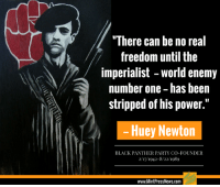 "Memes, News, and Party: ""There can be no real  freedom until the  imperialist world enemy  number one-has been  stripped of his power.""  Huey Newton  BLACK PANTHER PARTY CO-FOUNDER  2/17/1942-8/22/1989  www.MintPressNews.com Today the 50th anniversary of the founding of the original Black Panthers, who were destroyed by FBI's CoIntelPro operations.  Power to the people. (Y) Mint Press News"