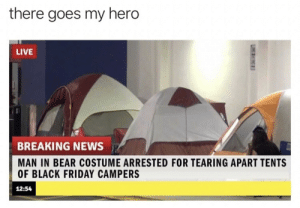 Black Friday, Dank, and Friday: there goes my hero  LIVE  BREAKING NEWS  MAN IN BEAR COSTUME ARRESTED FOR TEARING APART TENTS  OF BLACK FRIDAY CAMPERS  12:54 What a legend by dickfromaccounting MORE MEMES