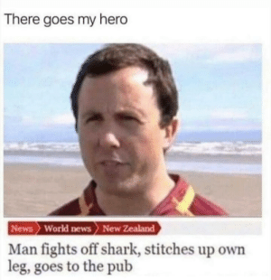 Dank, Memes, and News: There goes my hero  News World news> New Zealand  Man fights off shark, stitches up own  leg, goes to the pub Well that does it by thegoldentanker MORE MEMES
