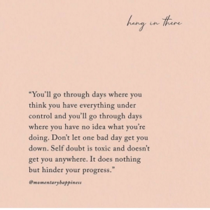 """You Down: there  hang in Hoare  """"You'll go through days where you  think you have everything under  control and you'll go through days  where you have no idea what you're  doing. Don't let one bad day get you  down. Self doubt is toxic and doesn't  get you anywhere. It does nothing  but hinder your progress.  @momentaryhappiness"""