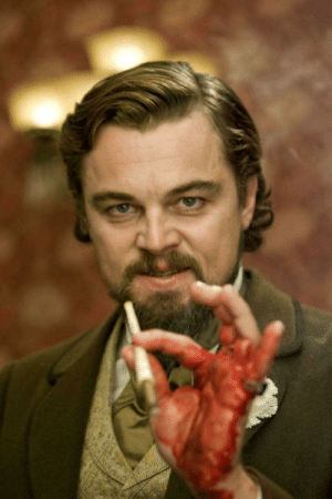 There have been many stories as to Leonardo DeCaprio's bloodied Hans during the dinner scene in Django, however, Kerry Washington recently stated that his hand was only bloodied because she was on her period that day.: There have been many stories as to Leonardo DeCaprio's bloodied Hans during the dinner scene in Django, however, Kerry Washington recently stated that his hand was only bloodied because she was on her period that day.