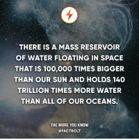 Af, Anaconda, and Memes: THERE IS A MASS RESERVOIR  OF WATER FLOATING IN SPACE  THAT IS 100,000 TIMES BIGGER  THAN OUR SUN AND HOLDS 140  TRILLION TIMES MORE WATER  THAN ALL OF OUR OCEANS.  THE MORE YOU KNOW  @FACT BOLT Makes me thirsty af — Source: http:-www.zmescience.com-space-enormous-water-reservoir-found-in-space-is-bigger-than-140-trillion-earth-oceans-