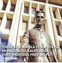 (via @tech) Though Tesla died in 1943, he appears to be alive and well in Silicon Valley. Specifically, his statue, which provides free Wi-Fi for the city of Palo Alto. The statue was actually raised in 2013 through a Kickstarter campaign that raised around $127,000. Inside the statue also lies a time capsule to be opened on the 100th anniversary of Tesla's death on January 7th. The statue even has its very own website! tech tesla wifi: THERE IS A NIKOLA TESLA STATU  IN PALO ALTO, CALIFORNIA,  THAT PROVIDES FREE WT-FI  @TECH I by guff (via @tech) Though Tesla died in 1943, he appears to be alive and well in Silicon Valley. Specifically, his statue, which provides free Wi-Fi for the city of Palo Alto. The statue was actually raised in 2013 through a Kickstarter campaign that raised around $127,000. Inside the statue also lies a time capsule to be opened on the 100th anniversary of Tesla's death on January 7th. The statue even has its very own website! tech tesla wifi