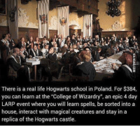 "Harry Potter, Poland, and Castle: There is a real life Hogwarts school in Poland. For $384,  you can learn at the ""College of Wizardry"", an epic 4 day  LARP event where you will learn spells, be sorted into a  house, interact with magical creatures and stay in a  replica of the Hogwarts castle. :o"