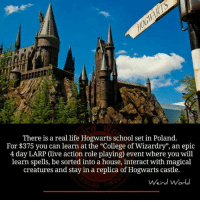 "College, Life, and Memes: There is a real life Hogwarts school set in Poland.  For $375 you can learn at the ""College of Wizardry"", an epic  4 day LARP (live action role playing) event where you will  learn spells, be sorted into a house, interact with magical  creatures and stay in a replica of Hogwarts castle.  ein"