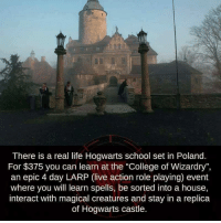 "College, Memes, and Magic: There is a real life Hogwarts school set in Poland.  For $375 you can learn at the ""College of Wizardry"",  an epic 4 day LARP (live action role playing) event  where you will learn spells, be sorted into a house,  interact with magical creatures and stay in a replica  of Hogwarts castle. xxNifflerTonksxx"