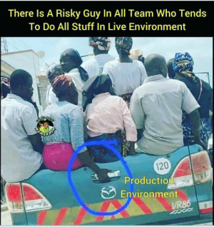 That one guy in the team!: There Is A Risky Guy In All Team Who Tends  To Do All Stuff In Live Environment  120  Production  Environment  VR86  4XX4 That one guy in the team!