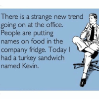 Food, Memes, and The Office: There is a strange new trend  going on at the office.  People are putting  names on food in the  company fridge. Today  had a turkey sandwich  named Kevin. My coworkers are so strange 🤷🏼♀️ @smartassinstagram
