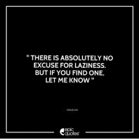 "#653  #Life Suggested by Kabir "" There is absolutely no excuse for laziness. But if you find one, Let me know "" -Unknown  Download our Android App : https://play.google.com/store/apps/details?id=com.epicquotes  Subscribe to our daily epic quote on whatsapp - just ping us a "" Hi "" on  +91 95-99-333295.: THERE IS ABSOLUTELY NO  EXCUSE FOR LAZINESS.  BUT IF YOU FIND ONE,  LET ME KNOW  UNKNOWN  quotes #653  #Life Suggested by Kabir "" There is absolutely no excuse for laziness. But if you find one, Let me know "" -Unknown  Download our Android App : https://play.google.com/store/apps/details?id=com.epicquotes  Subscribe to our daily epic quote on whatsapp - just ping us a "" Hi "" on  +91 95-99-333295."