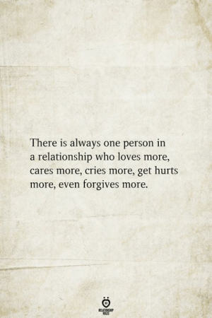 In a Relationship, Who, and One: There is always one person in  a relationship who loves more  cares more, cries more, get hurts  more, even forgives more.  BELATIONSHIP  LES