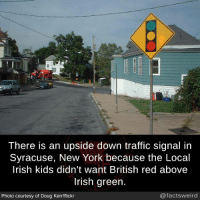 Douge: There is an upside down traffic signal in  Syracuse, New York because the Local  lrish kids didn't want British red above  Irish green.  Photo courtesy of Doug Kerr/flickr  @factsweird