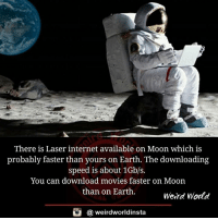 download movies: There is Laser internet available on Moon which is  probably faster than yours on Earth. The downloading  speed is about 1Gb/s.  You can download movies faster on Moon  than on Earth  Weird World  a weird worldinsta