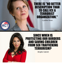 """America, Children, and Memes: THERE IS """"NO BETTER  DESCRIPTION THAN  TO CALL ICE A  TERRORIST  ORGANIZATION.""""  -Cynthia Nixon  ACT  FOR AMERICA  SINCE WHEN IS  PROTECTING OUR BORDERS  AND SAVING CHILDREN  FROM SEX TRAFFICKING  TERRORISM?  -Brigitte Gabriel"""