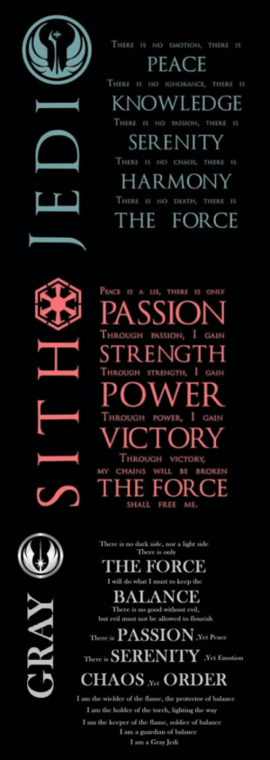 Jedi, Sith, and Death: THERE IS NO EMOTION, THERE IS  PEACE  HERE IS NO IGNORANCE, THERE IS  -KNOWLEDGE  THERE IS NO PASSION, THERE  SERENITY  HARMONY  THE FORCE  HERE IS NO CHAOS, THERE IS  THERE IS NO DEATH, THERE IS  PEACE IS A LIE, THERE IS ONLY  PASSION  THROUGH PASSION, I GAIN  STRENGTH  THROUGH STRENGTH, IGAIN  POWER  VICTORY  THE FORCE  THROUGH POWER, I GAIN  HROUGH VICTORY  MY CHAINS WILL BE BROKEN  SHALL FREE ME  There is no dark side, nor a light side  There is only  THE FORCE  BALANCE  PASSION .  CHAOS ^t ORDER  I will do what I must to keep the  There is no good without evil,  but evil must not be allowed to flourish  There is  Yet Peace  There is  SERENITY Yet Ea  I am the wielder of the flame, the protector of balance  I am the holder of the torch, lighting the way  I am the keeper of the flame, soldier of balance  I am a guardian of balance  I am a Gray Jedi On which side are you Sith, Jedi or even neutral?