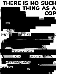 What cop? https://t.co/ofXMbeaZLO: THERE IS NO SUCH  THING AS A  COP  COpS  arr  imaginary  WHAT  POLICE  0% of police officer  in the  population  are the  COP What cop? https://t.co/ofXMbeaZLO