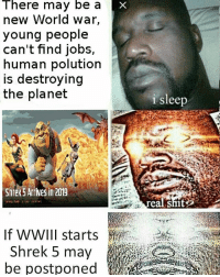 Memes, Shit, and Shrek: There may be a  new World War,  young people  can't find jobs,  human polution  is destroying  the planet  Shrek Arrives in 2019  If WWIII starts  Shrek 5 may  i sleep  eal shit Aw hell nah