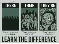 Memes, Zombies, and 🤖: THERE  THEIR  THEY'RE  They're going  The zombies are  Their  limbs are  falling off.  over there.  to eat LEARN THE DIFFERENCE