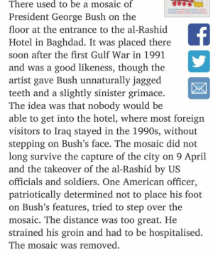 groin: There used to be a mosaic of  President George Bush on the  floor at the entrance to the al-Rashid  Hotel in Baghdad. It was placed there  soon after the first Gulf War in 1991  and was a good likeness, though the  artist gave Bush unnaturally jagged  teeth and a slightly sinister grimace  The idea was that nobody would be  able to get into the hotel, where most foreign  visitors to Iraq stayed in the 1990s, without  stepping on Bush's face. The mosaic did not  long survive the capture of the city on 9 April  and the takeover of the al-Rashid by US  officials and soldiers. One American officer,  patriotically determined not to place his foot  on Bush's features, tried to step over the  mosaic. The distance was too great. He  strained his groin and had to be hospitalised  The mosaic was removed