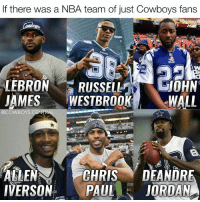 Dallas Cowboys, LeBron James, and Memes: there was a NBA team of just Cowboys fans  LEBRON  JAMES  WESTBROOK WALL  OYS  CENTR  ALLEN  CHRIS  DEANDRE  IVERSON  PAUL  JORDAN How many titles would this team win 😳 CowboysNation ✭ - Idea Credits 📷: @jonmachota
