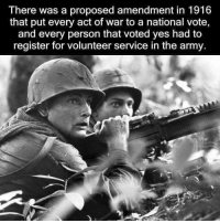 amends: There was a proposed amendment in 1916  that put every act of war to a national vote,  and every person that voted yes had to  register for volunteer service in the army.