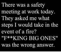 "meeting: There was a safety  meeting at work today  They asked me what  steps I would take in the  event of a fire?  ""F**KING BIG ONES""  was the wrong answer."
