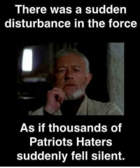Patriots Haters: There was a sudden  disturbance in the force  As if thousands of  Patriots Haters  suddenly fell silent.
