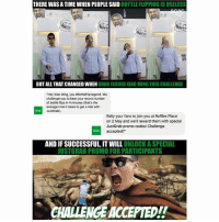 """Bottle flip to get cheaper JustGrab rides? CHALLENGE ACCEPTED! Come down to One Raffles Place at 1PM today to support Xiao Ming or maybe even attempt the bottle flip yourself! JustGrabLive sp: THERE WAS A TIME WHEN PEOPLESAID  BOTTLE FLIPPING ISUSELESS  BUT ALL THATCHANGED EN GRAB ISSUED XIAO MING THIS CHALLENGE  """"Hey Xiao Ming, you #BottleFlip legend. We  challenge you to beat your record number  of bottle flips in 4  minutes (that's the  average time it takes to get aride with  Just Grab)  Rally your fans to join you at Raffles Place  on 2 May and we'll reward them with special  Just Grab promo codes! Challenge  accepted?""""  AND IFSUCCESSFUL, IT UNLOCK ASPECIAL  JUSTGRAB PROMO FOR PARTICIPANTS  CHALLENGEACCEPTED!! Bottle flip to get cheaper JustGrab rides? CHALLENGE ACCEPTED! Come down to One Raffles Place at 1PM today to support Xiao Ming or maybe even attempt the bottle flip yourself! JustGrabLive sp"""