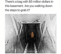 GOAT Memes: There's a bag with $5 million dollars in  this basement. Are you walking down  the steps to grab it? GOAT Memes