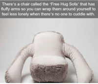 Free, Chair, and Arms: There's a chair called the 'Free Hug Sofa' that has  fluffy arms so you can wrap them around yourself to  feel less lonely when there's no one to cuddle with. https://t.co/9oFQQhhWRA