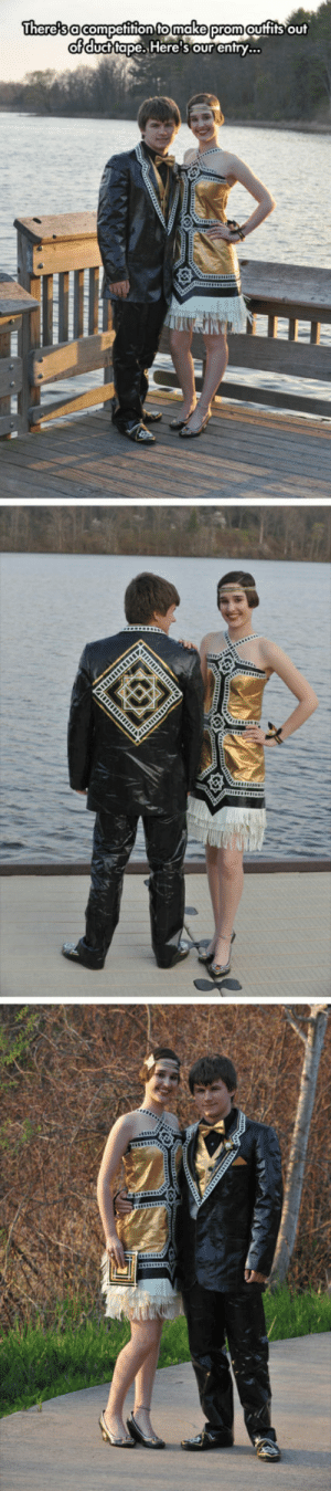 srsfunny:  Creative Duct Tape Outfit: There's a competition to make prom outfits out  of duct tape. Here's our entry... srsfunny:  Creative Duct Tape Outfit