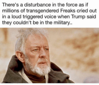America, Facebook, and Instagram: There's a disturbance in the force as if  millions of transgendered Freaks cried out  in a loud triggered voice when Trump said  they couldn't be in the military.. A very big disturbance 🤔🤔🤔 quite entertaining! transmilitary transgendermilitary trumpmemes liberals libbys democraps liberallogic liberal maga conservative constitution presidenttrump resist thetypicalliberal typicalliberal merica america stupiddemocrats donaldtrump trump2016 patriot trump yeeyee presidentdonaldtrump draintheswamp makeamericagreatagain trumptrain triggered CHECK OUT MY WEBSITE AND STORE!🌐 thetypicalliberal.net-store 🥇Join our closed group on Facebook. For top fans only: Right Wing Savages🥇 Add me on Snapchat and get to know me. Don't be a stranger: thetypicallibby Partners: @theunapologeticpatriot 🇺🇸 @too_savage_for_democrats 🐍 @thelastgreatstand 🇺🇸 @always.right 🐘 @keepamerica.usa ☠️ @republicangirlapparel 🎀 @drunkenrepublican 🍺 TURN ON POST NOTIFICATIONS! Make sure to check out our joint Facebook - Right Wing Savages Joint Instagram - @rightwingsavages