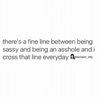 Funny, Memes, and Cross: there's a fine line between being  sassy and being an asshole and i  cross that line everyday  sarcasm only ⠀