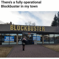 Blockbuster, Memes, and Shit: There's a fully operational  Blockbuster in my town  BLOCKBUSTER  BEST  NEWIESTI  RELEASES  SELECTION Oh shit 😂 (u-holymcjustice) | follow @fuckersbelike for more