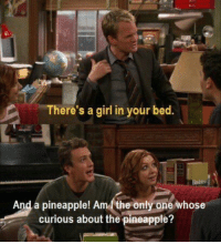 Memes, Girl, and Pineapple: There's a girl in your bed  And a pineapple! Am the only one whose  curious about the pineapple? #HIMYM https://t.co/C6kRdleqLt