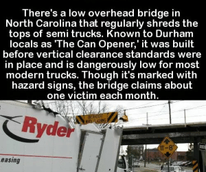 Memes, North Carolina, and Amazing: There's a low overhead bridge in  North Carolina that regularly shreds the  tops of semi trucks. Known to Durham  locals as The Can Opener,' it was built  before vertical clearance standards were  in place and is dangerously low for most  modern trucks. Though it's marked with  hazard signs, the bridge claims about  one victim each month  Ryde  T-8  easing RT @TotaIIy_Amazing: https://t.co/uop4X7F73W