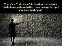 "WOAH!: There's a  rain room"" in London that makes  rain fall everywhere in the room except the spot  you are standing at. WOAH!"