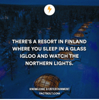 Memes, Glasses, and 🤖: THERE'S A RESORT IN FINLAND  WHERE YOU SLEEP IN A GLASS  IGLOO AND WATCH THE  NORTHERN LIGHTS.  KNOWLEDGE & ENTERTAINMENT  FACT BOLT COM Follow the world with @intravelist ✈️🌏 factbolt