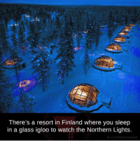 Memes, fb.com, and Watch: There's a resort in Finland where you sleep  in a glass igloo to watch the Northern Lights.  fb.com/actsweird