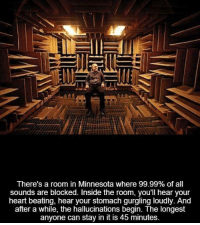 hallucinate: There's a room in Minnesota where 99.99% of all  sounds are blocked. Inside the room, you'll hear your  heart beating, hear your stomach gurgling loudly. And  after a while, the hallucinations begin. The longest  anyone can stay in it is 45 minutes.