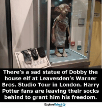 Elf, Love, and Memes: There's a sad statue of Dobby the  house elf at Leavesden's Warner  Bros. Studio Tour in London. Harry  Potter fans are leaving their socks  behind to grant him his freedom.  Talent  Explore Aw, I love this! We must free Dobby ✨😞✨😞