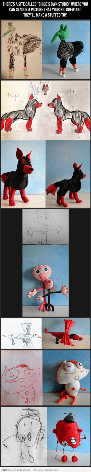 "Children's drawings become real... I love this so much!: THERE'S A SITE CALLED ""CHILD'S OWN STUDIO"" WHERE YOU  CAN SEND IN A PICTURE THAT YOUR KID DREW AND  THEY'LL MAKE A STUFFED TOY  fron t  Left  FUNSUbstance.com  For your entertainment.  qur eve  Cnly Children's drawings become real... I love this so much!"