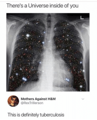 Definitely, Humans of Tumblr, and Mothers: There's a Universe inside of you  Mothers Against H&M  @RexTrillerson  This is definitely tuberculosis