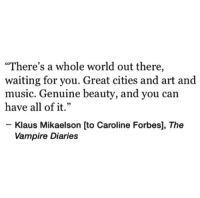 "diaries: ""There's a whole world out there,  waiting for you. Great cities and art and  music. Genuine beauty, and you can  have all of it.""  1 99  Klaus Mikaelson [to Caroline Forbes], The  Vampire Diaries"