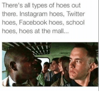 Facebook, Hoes, and Instagram: There's all types of hoes out  there. Instagram hoes, Twitter  hoes, Facebook hoes, school  hoes, hoes at the mall.. So sick of these hoes.