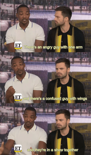 Anthony Mackie perfectly describes The Falcon and the Winter Soldier: There's an angry guy with one arm  and there's a confused guy with wings  E  ET  and they're in a show together Anthony Mackie perfectly describes The Falcon and the Winter Soldier