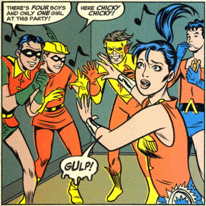 Teen Titans, No!: THERE'S FOUR BOYS  AND ONLY ONEGIRL  AT THIS PARTY!  HERE CHICKY  CHICKY!  GULP! Teen Titans, No!